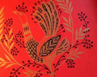 Large Square Red Folk Art Metal Serving Tray