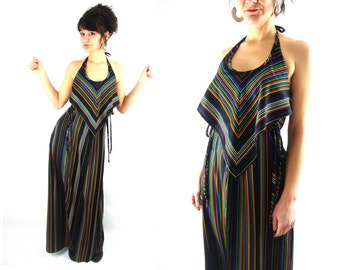 70s rainbow stripe maxi halter dress / amazing! / s m