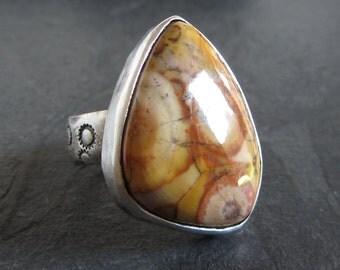 Sterling silver bird's eye jasper ring / size 6.5 / artisan ring / large ring / boho ring / oxidized ring / rustic ring / stone ring