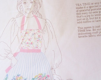 Apron Fabric Panels, DIY Apron Sewing Kit, Cut and Sew Bib Apron, Cottage Chic Teapots and Cups, Hostess Floral  Cut 'n Sew Apron Kit