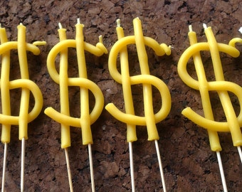 dollar sign beeswax candle