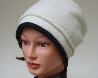 Fleece Bucket Hat, Premium Quality Fleece, Single Layer Winter White with Black Trim, Medium Women's