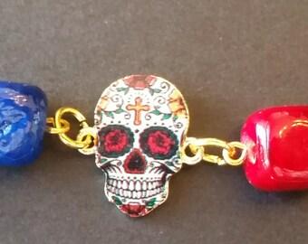 Red Dia de Los Muertos Bracelet - FREE SHIPPING