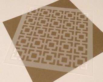 Square 5 inch stencil - Retro squares