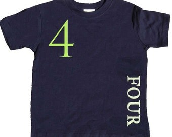 4th Birthday T shirt Boys Fourth Birthday Shirt by Mumsy Goose  Number Four Shirts Any Age Birthday Shirt