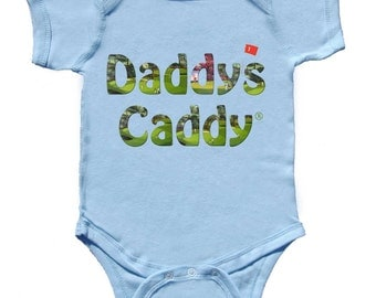 Daddys Caddy Fun Golf Baby Romper Boy Tee's Light Blue Tshirt NewBorn Rompers to Kids Tees