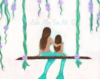 "Mermaid Art Print Mermaid Painting Art GICLEE Mermaid Wall Mermaid Decor Mermaid Theme  ""Lovely Day Together"" Leslie Allen Fine Art"