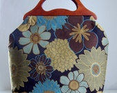 Blue Blooms Large Craft Project Tote/ Knitting Tote Bag - READY TO SHIP