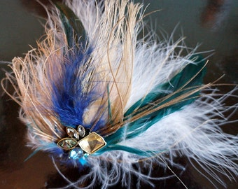 Cream Turquoise and Blue Peacock Feather Fascinator Hair Clip
