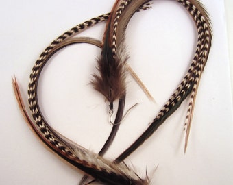 long Black Feather Earrings with grizzly