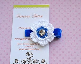 Royal Blue Crochet Flower Clip