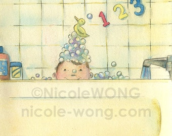 Original 4x6 Painting -- Bathtime