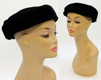 60's Black Velvet Hat / Large Pillbox Hat / Vintage Hat