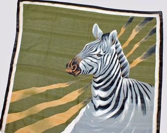 """Vintage Jim Renoir Scarf / Zebra / Safari / Polyester / 35"""" Square"""