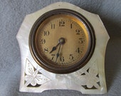 Lovely Antique Victorian Mother of Pearl Carved Leaf Clock by Lux