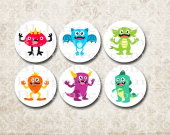 Birthday Halloween Sticker Monsters Party Favor Treat Bag Stickers SP050