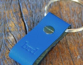 Monogrammed Bright Blue and Halftone Green Leather Keychain - Short & Wide Style