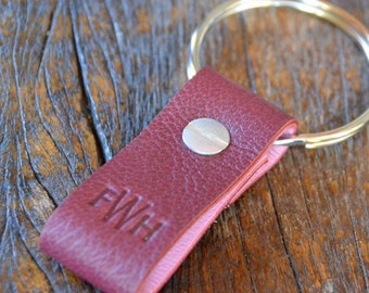 Monogrammed Cabernet and Pink Leather Keychain - Short & Wide Style