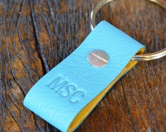 Monogrammed Turquoise and Ochre Leather Keychain - Short & Wide Style