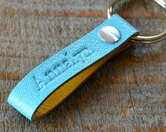 Personalized Turquoise and Ochre Keychain- Long & Skinny Style