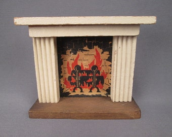 Vintage Miniature Kage Dollhouse Furniture - Fireplace Mantle - 3/4 Scale