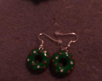 Christmas Wreath  Ear Rings