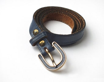 Vintage Girl Sea Blue Outremer Leather Waist Belt - Gold and Leather Buckle - Womens Girl Fashion Accessory - 80s Accessory - Thin Blue Belt