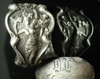 1905 Antique ring Nude and cherubs inscribed Romantic Cupid vintage sterling Victorian Angel Size 10 1/2 DM DL personalized christmas gift