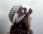 All Season Beanie with Flower Applique - Winter White Beige - Open Stitch - Women Girl Teen - Comfortable Stylish - OOAK