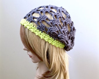 All-Season Slouchy Beanie  - Crocheted in 100 Percent Eco Friendly Cotton Yarn in Gray and Citron - Women Girl Teen - Beach Collection