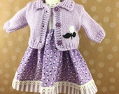 Fits American Girl Other 18 Inch Dolls Lavender and White Flowers and Stripes Hand Knit Sweater and Sleeveless Dress