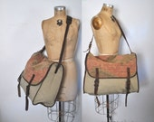 Canvas and Leather Messenger Bag / Weekender Overnight Luggage / unisex