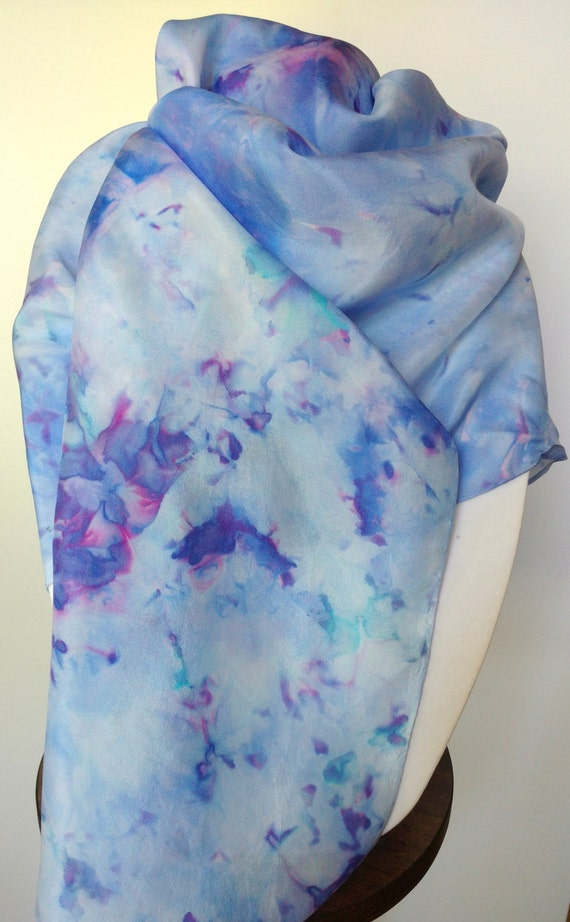 Blue Symphony scarf,  multi-colored blue, aqua, purple, pink, and magenta silk scarf, women's scarves