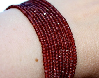 """Sparkle Glowing Red Genuine Garnet Micro Faceted Round Rondelle Tiny 2.2mm Spacer Beads 6.5"""" strand"""