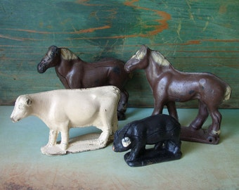 Antique Rubber Horses Cow Pig Farm Animal Toys USA Lot of 4