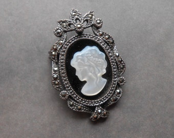 Vintage CW Sterling Silver Mother of Pearl Cameo Brooch Pendant with Marcasite