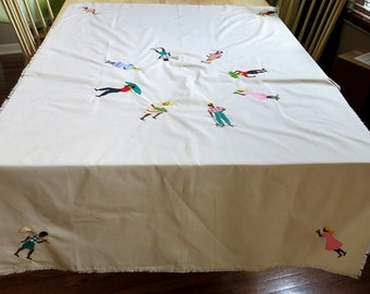 Hand Appliqued Tablecloth Embroidered Details Caribbean Island Theme Home Artisan Made Vintage 1980s-90s