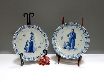 Vintage Royal Delft Porcelain Mother & Fathers Day Plates 1972 Limited Edition Blue White