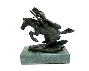Vintage Remington Bronze Mini Statue Cheyenne Granite Base 1970s