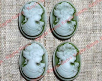 18x25mm Victorian Lady Portrait Cameos White Face Olive Green Antique Style - 4 pcs