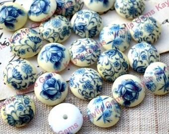 Vintage Round 12mm Glass porcelain Cabochon Blue Flower Foral Rose - Japan Made -BIN2 - 6pcs