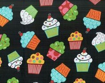 Colorful Cupcakes on Black Fabric (by the yard)