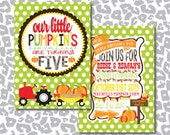DIY Our Little Pumpkin is Turning..... Pumpkin Patch Fall Birthday Invitation