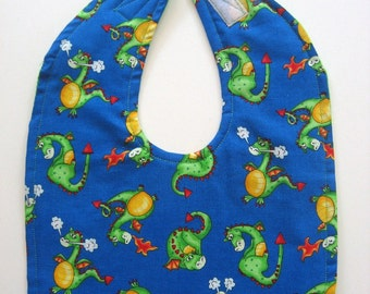 Ready To Ship - Reversible Dragons Baby Bib - Blue Green Baby Boy Bib  - Cute Dragons Bib - Toddler Dragons Bib