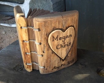Rustic wood journal wedding guest book with heart and names 8,7x 6 Coptic stitch
