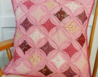 Quilted Cathedral Window Pillow Cover Rose Pink