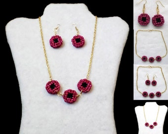 Red and Black Metallic Plastic Canvas Necklace and Earring Set