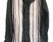 Black cotton button down shirt with ribbon front panels pink ivory purple medium