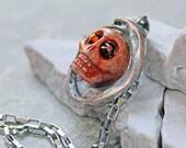 Orange sugar skull, orange day of the dead necklace, orange skull necklace, skeleton head jewelry, Halloween skull necklace