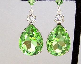 Peridot green earrings, large pear shape glass earrings, light green teardrop, green statement, peridot bridal earrings, August birthstone